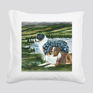 aussie blue and red in feild Square Canvas Pillow