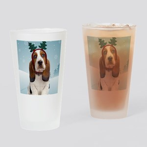 cp_bassetxmascardfront Drinking Glass