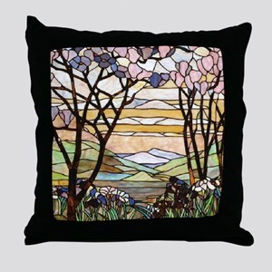 stained glass tree78 Throw Pillow