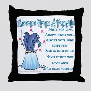 Penguin Lessons Throw Pillow