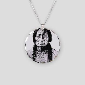 Sitting Bull Dark Huge Necklace Circle Charm
