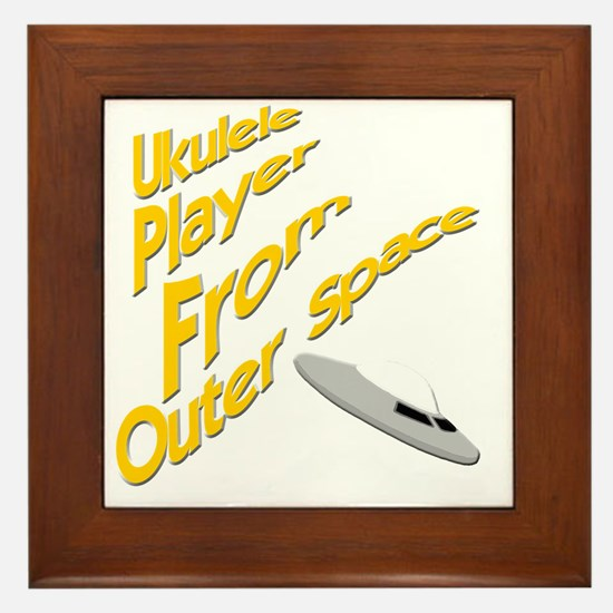 Ukulele Player From Outer Space Framed Tile