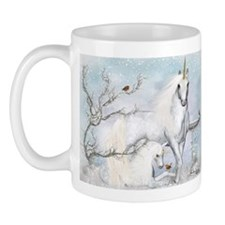 Winter Robins and Unicorns Mug