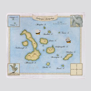 Galapagos Map Throw Blanket