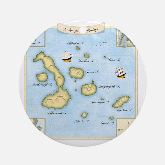 Galapagos Map square Round Ornament