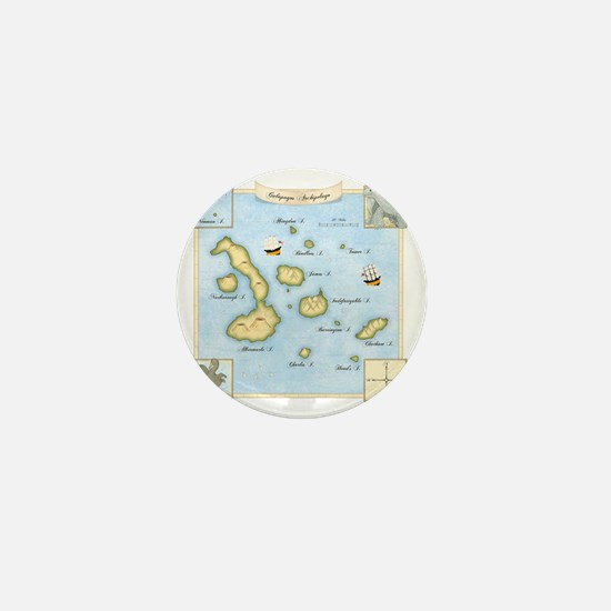 Galapagos Map square Mini Button
