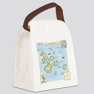 Galapagos Map square Canvas Lunch Bag