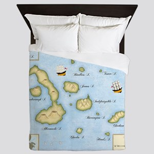 Galapagos Map square Queen Duvet