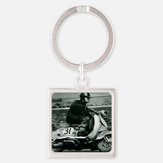 Scooter Race Square Keychain