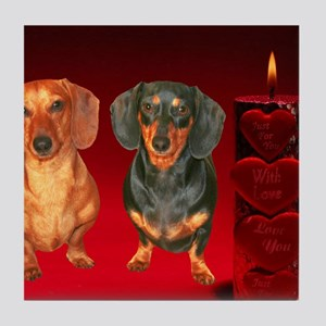 VALENTINE love doxies 12x16 Tile Coaster