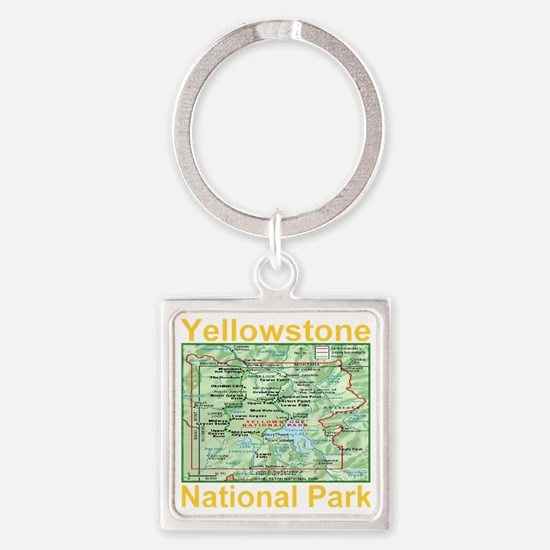 yellowstone_np_map_transparent Square Keychain