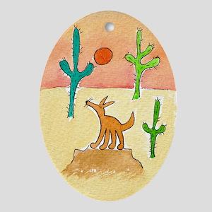 desert coyote 5x7 Oval Ornament