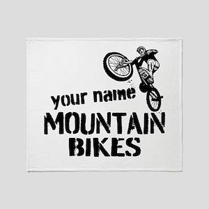 Custom Mountain Bikes Throw Blanket