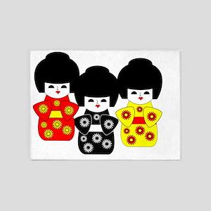 3 Japanese Dolls 5'x7'Area Rug