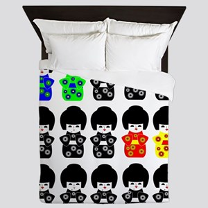 15 Japanese Dolls Queen Duvet