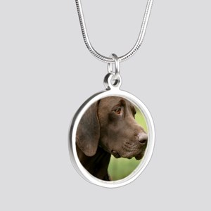 German Shorthaired Pointer 9 Silver Round Necklace