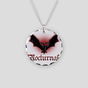 Bat_grey Necklace Circle Charm