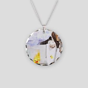 Bubble Bath Basset Print Necklace Circle Charm