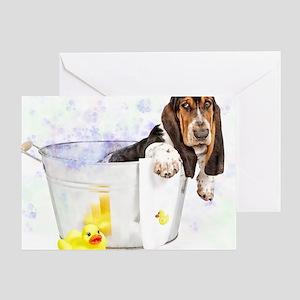 Bubble Bath Basset Print Greeting Card