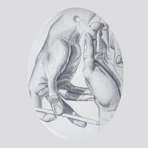 Artists Hands Oval Ornament