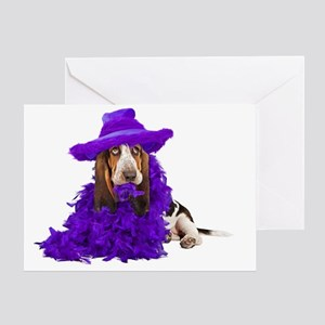 Basset DressUp Large Print Greeting Card