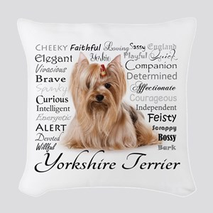 Yorkie Traits Woven Throw Pillow