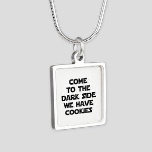 Come To The Dark Side Silver Square Necklace