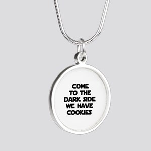 Come To The Dark Side Silver Round Necklace