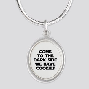 Come To The Dark Side Silver Oval Necklace