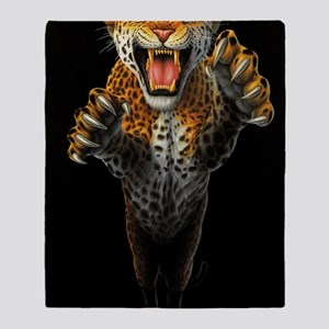 Leaping Leopard large Poster Throw Blanket