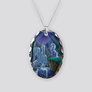 Unicorns in the Moonlight larg Necklace Oval Charm