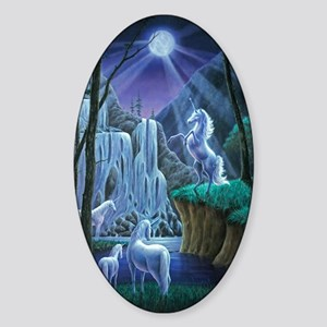 Unicorns in the Moonlight large pos Sticker (Oval)