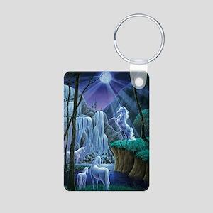 Unicorns in the Moonlight  Aluminum Photo Keychain