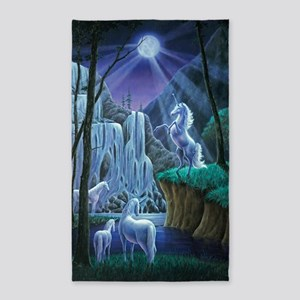 Unicorns in the Moonlight large pos 3'x5' Area Rug