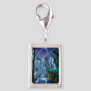 Unicorns in the Moonlight la Silver Portrait Charm