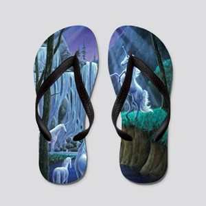 Unicorns in the Moonlight large poster Flip Flops
