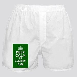Keep Calm and Carry On Poster - Green Boxer Shorts