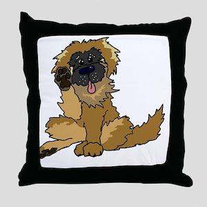Leonberger cartoon Throw Pillow