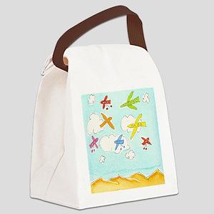 busy aeroplanes 10x10 Canvas Lunch Bag