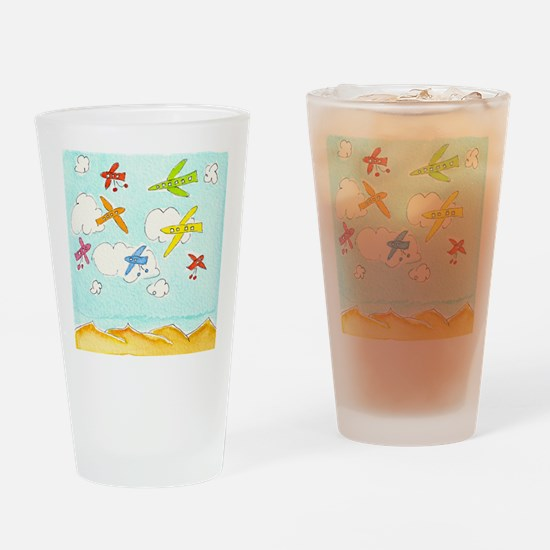 busy aeroplanes 10x10 Drinking Glass
