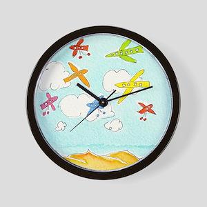 busy aeroplanes 10x10 Wall Clock