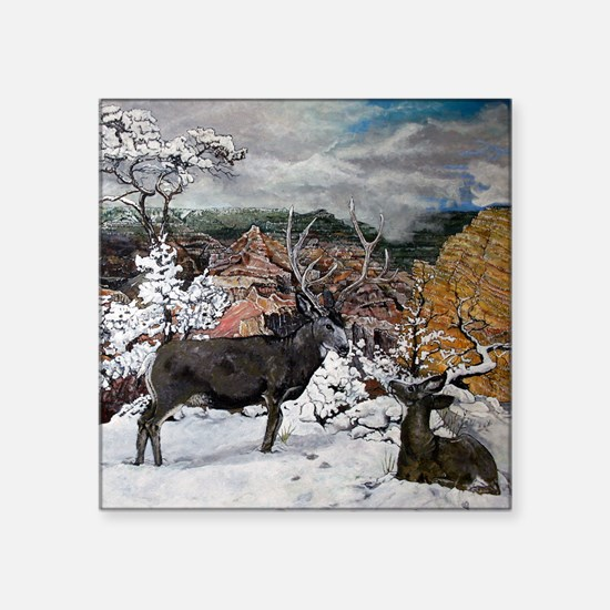 """deer oil painting, 5306 Square Sticker 3"""" x 3"""""""