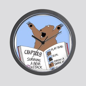 Surviving A Bear Attack Wall Clock