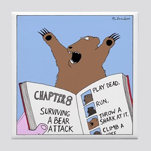 Surviving A Bear Attack Tile Coaster