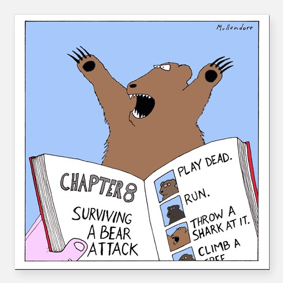 "Surviving A Bear Attack Square Car Magnet 3"" x 3"""