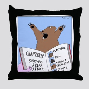 Surviving A Bear Attack Throw Pillow