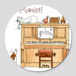 The  Pianist Round Car Magnet