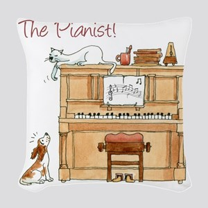 The  Pianist Woven Throw Pillow