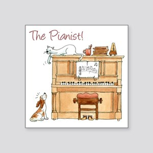 "The  Pianist Square Sticker 3"" x 3"""