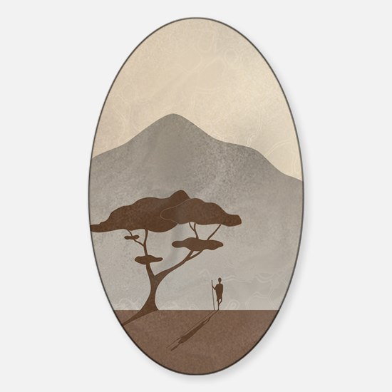 African Scene with Tribesman Sticker (Oval)